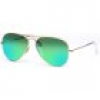 Ray-Ban Aviator Metal Medium 3025 112/19 5814 Matte Gold/Crystal Green Mirror Green